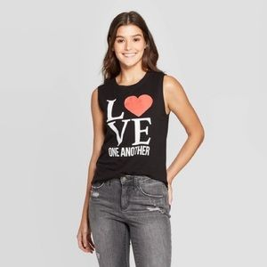 NWT Love One Another Black Tank